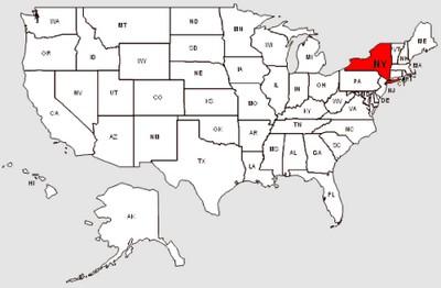 Staat New York Kaart de Staat New York in Het Rood