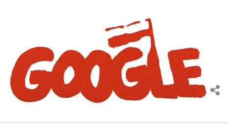 Google doodle ter ere van Solidarnosc, de vakbond van Lech Walesa