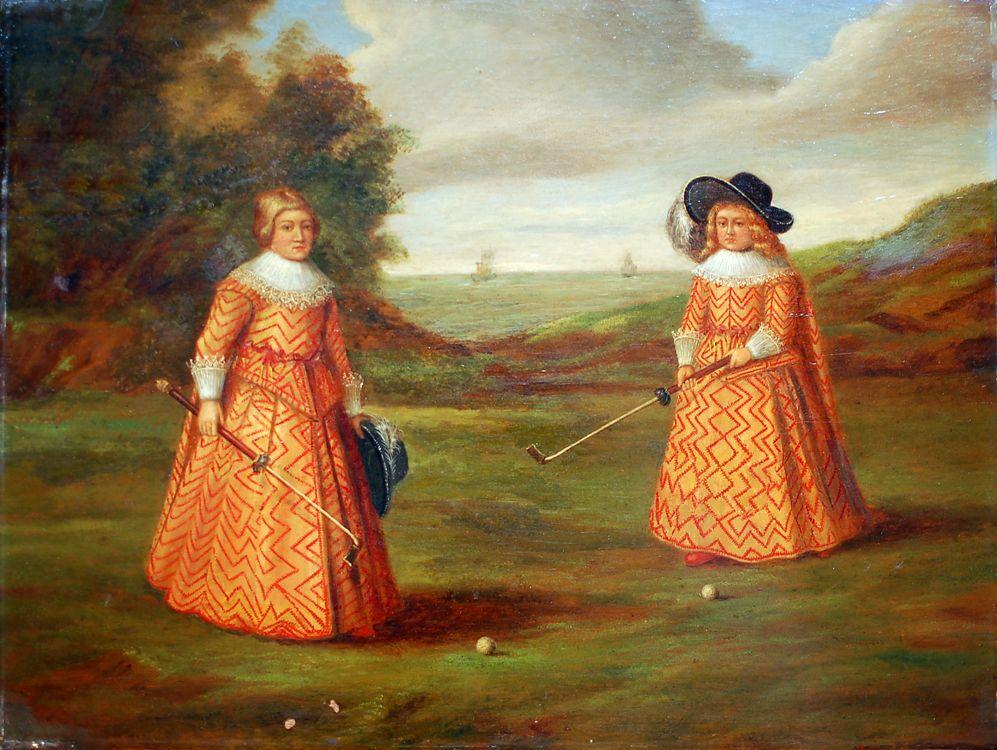 W. de Geest, twee jongens met een kolf. 19de kopie naar 17de-eeuws origineel. (Collectie Kennemer G&CC)