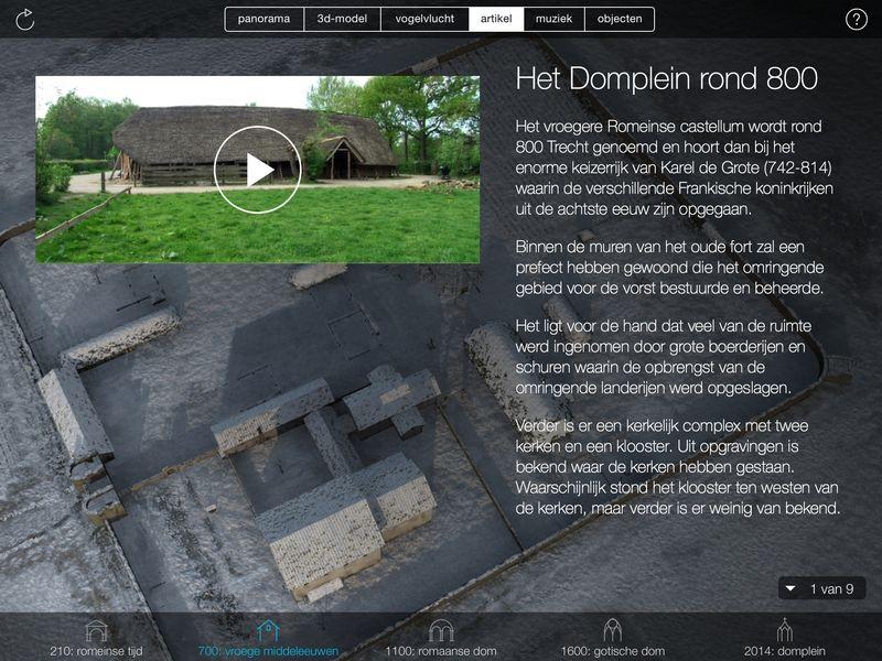 Het Domplein rond 800, met toelichting op de app.