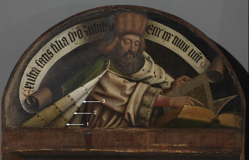 Detail van het paneel De Aartsengel Gabriël en de Profeet Zacharias tijdens reiniging.