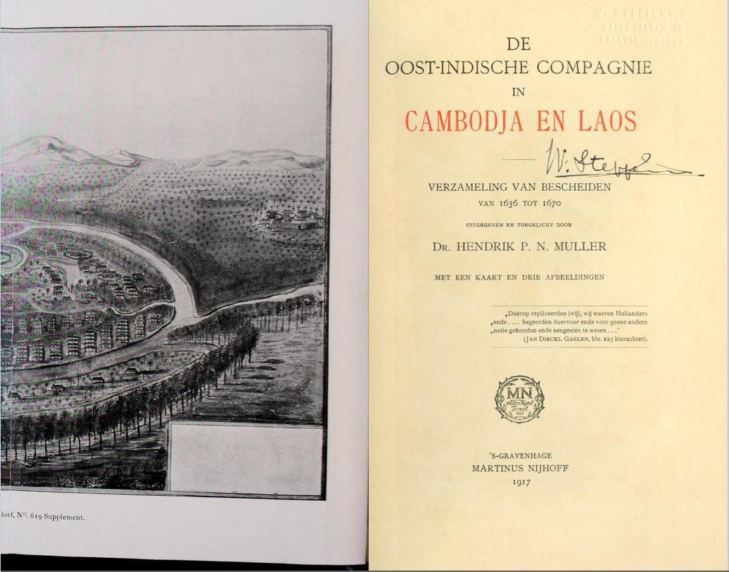 dr. Hendrik P.N. Muller: 'De Oost-Indische Compagie in Cambodja en Laos - Verzameling van bescheiden van 1638 tot 1670' (1917); een van de belangrijkste bronnen onder 'Muskietengat', met o.m. 'De onbekende Reyse der Nederlanders uyt het Coninckrijck Cambodia naer het Louwen-Lant'.