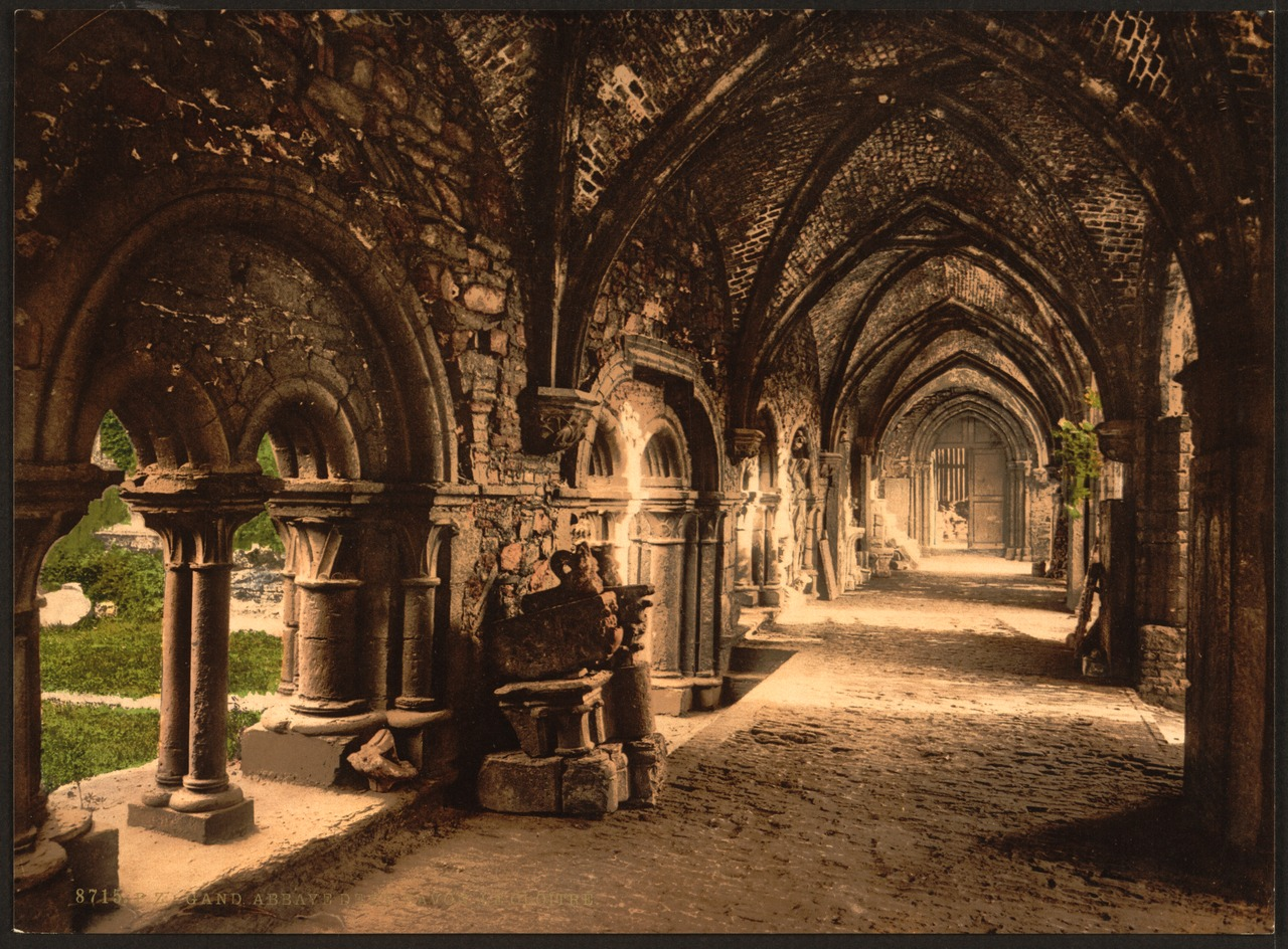 Photochrom van de Gentse Sint-Baafsabdij (Library of Congress)