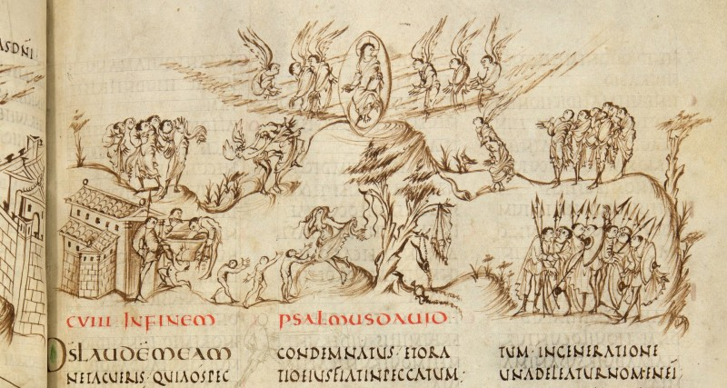 Utrechts Psalter - Psalm 108 (nu 109) - Afgebeeld wordt o.a. 'Wijs een gewetenloos man aan … dat hij zijn kinderen vaderloos, zijn vrouw als weduwe achterlaat. Dat zijn kinderen bedelend rondzwerven, naar eten zoeken in het puin van hun huizen'. (UU)