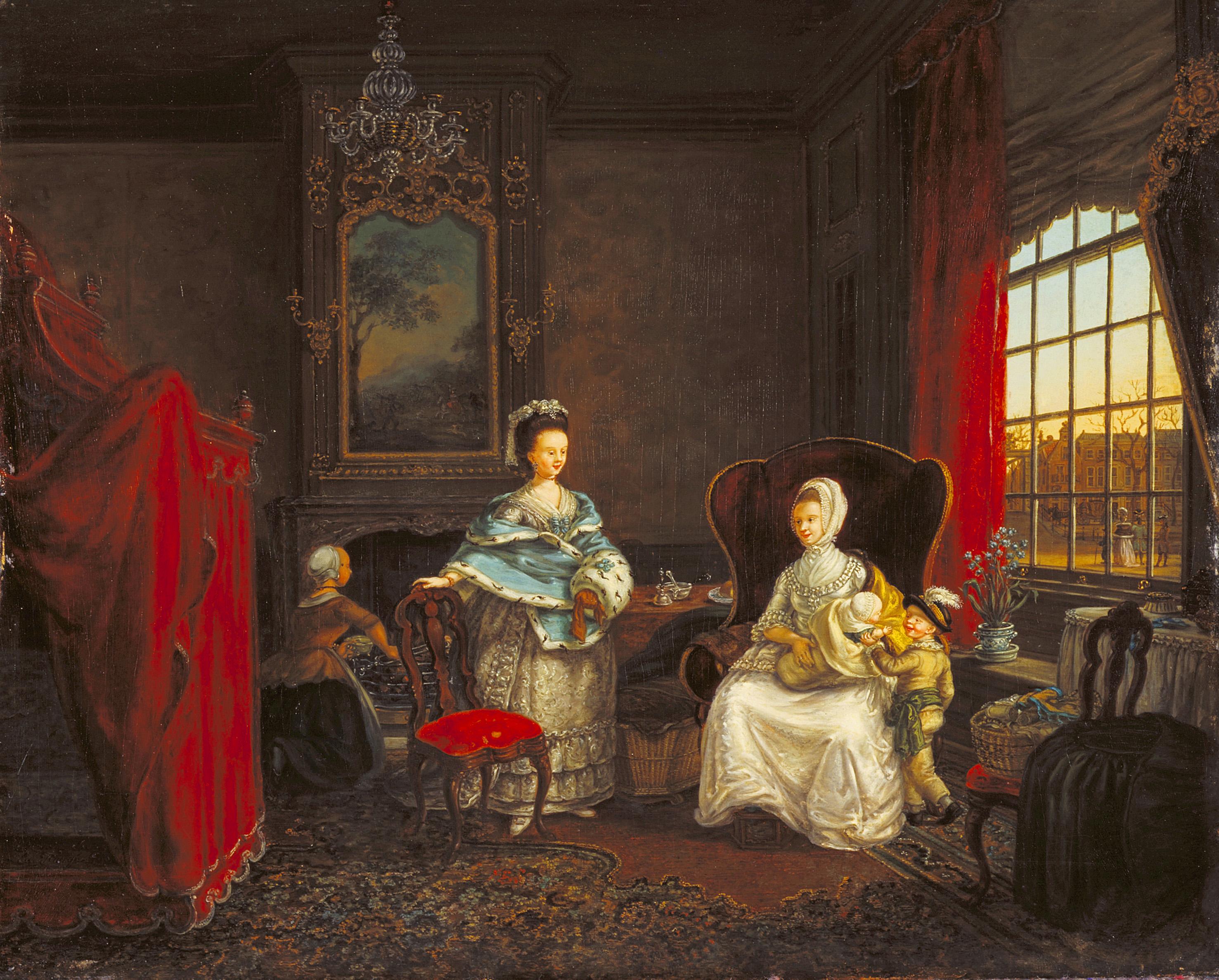 Maria Margaretha la Fargue (Franse grootouders), Interieur van een huis aan de Dunne Bierkade, ca. 1780. Collectie Haags Historisch Museum