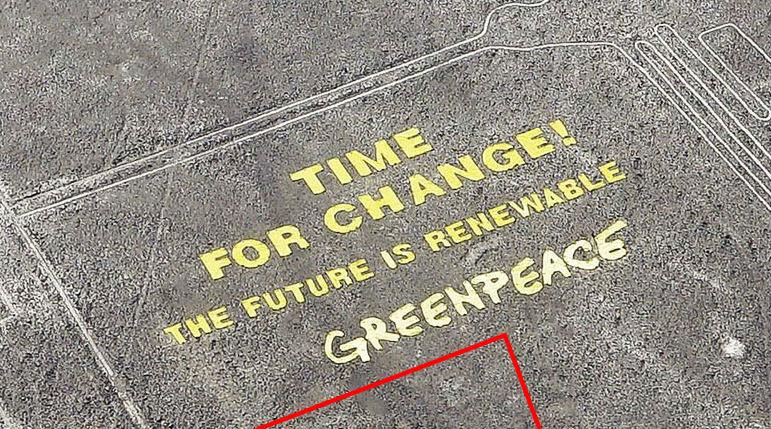 Greenpeace-tekst bij de Nazca-lijnen - cc