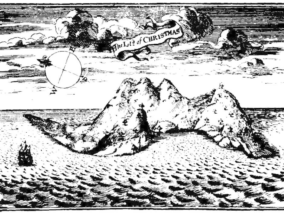 Oude afbeelding van Christmas Island (Daniel Beekman , 1718)