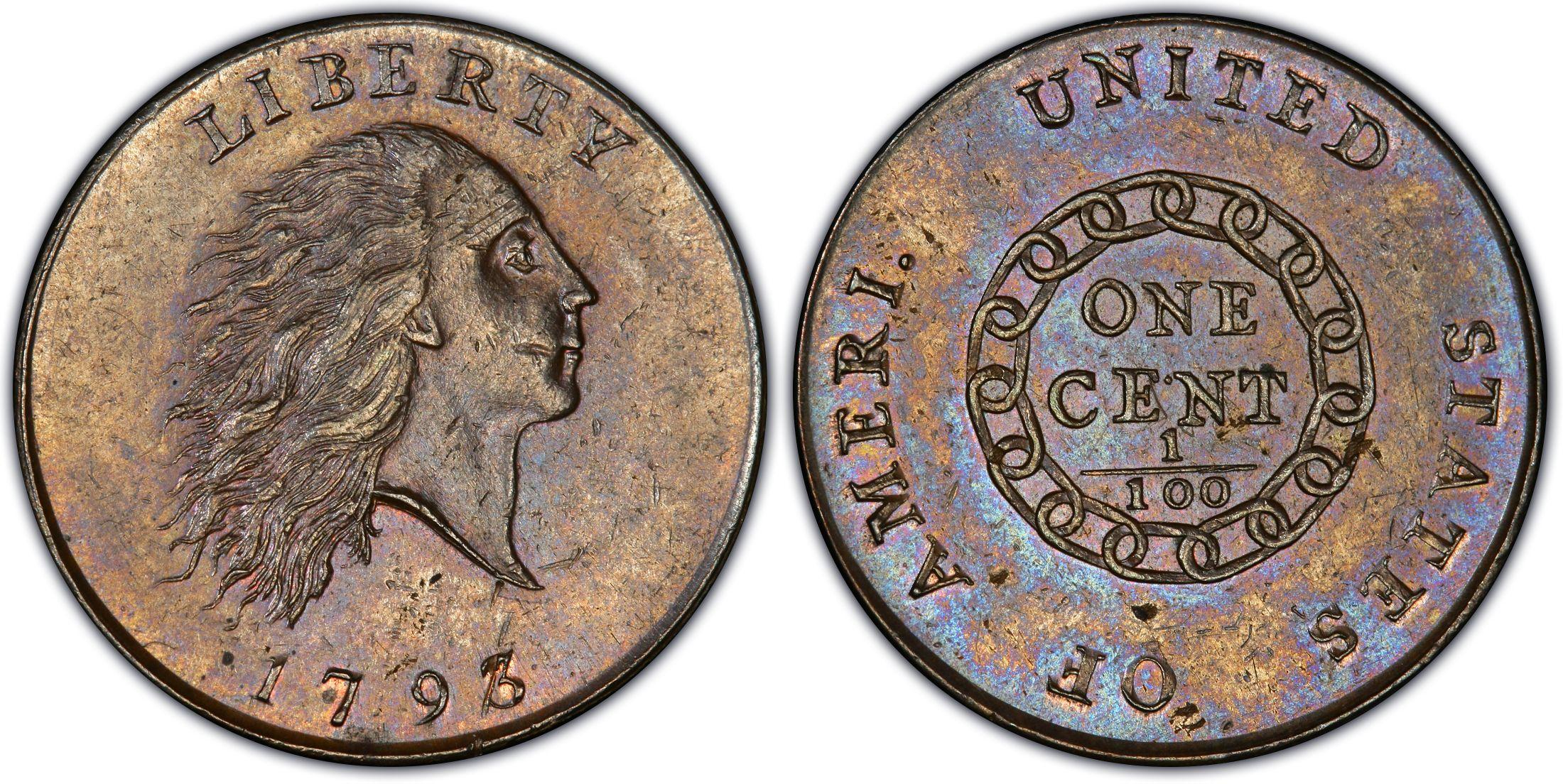 Voor en achterzijde van een chain cent uit 1793