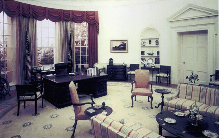Het Oval Office, het officiële kantoor van de president van de Verenigde Staten - cc