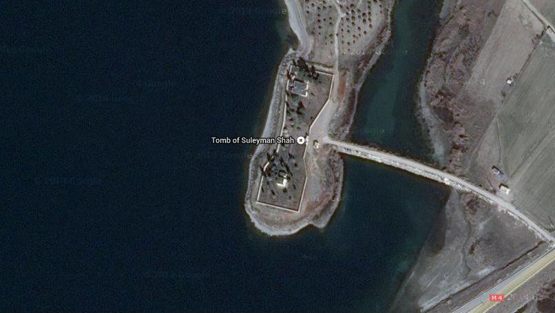 Satellietfoto van de tombe van Süleyman Shah
