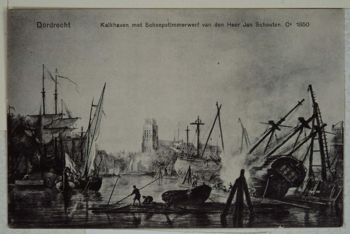 Kalkhaven met scheepstimmerwerf van den Heer Jan Schouten omstreeks 1850 (Regionaal Archief Dordrecht)