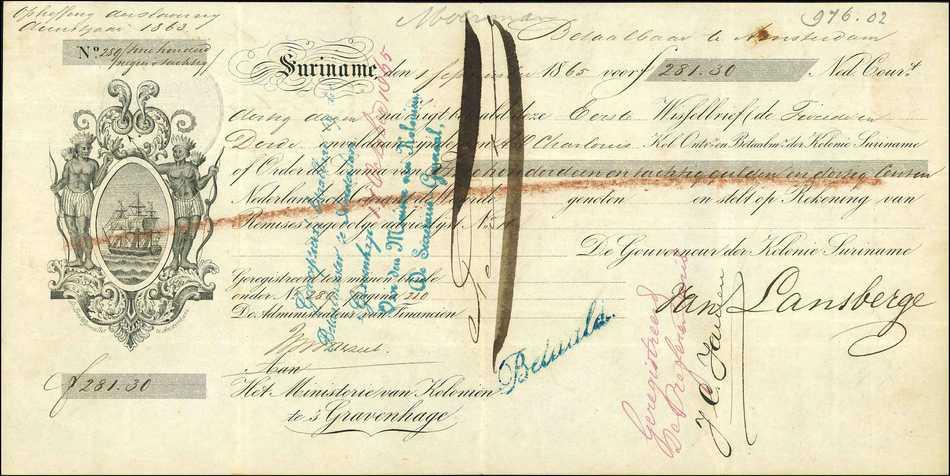 Wisselbrief afschaffing slavernij Suriname, No. 289, 1863 - 1865