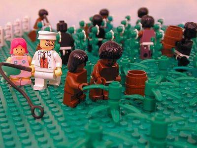 Slavernij verbeeld in Lego. Bron: oncyclopedia.net