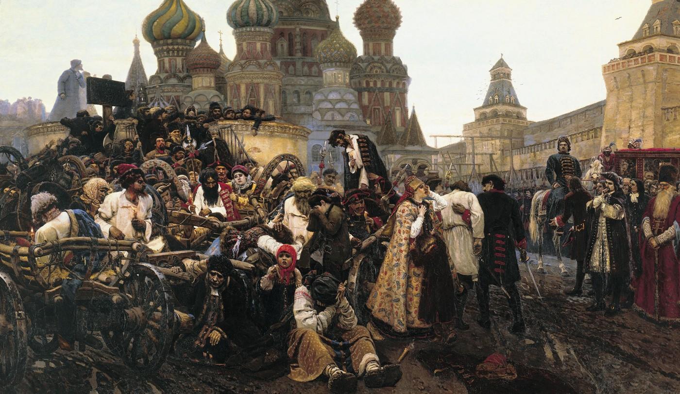 Schilderij van Vasily Surikov (1848-1916) over de executie van de Streltsy op het Rode Plein, 1881. Bron: Wikimedia