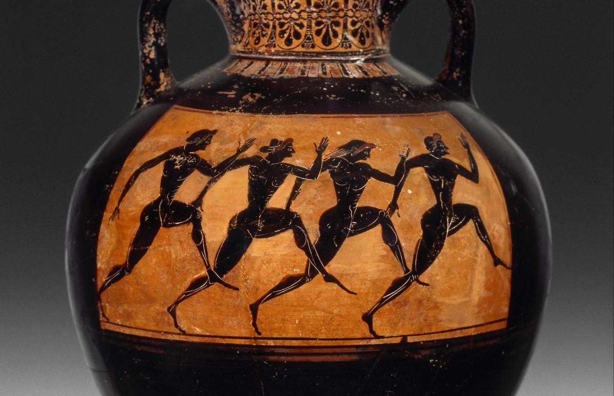 Panatheneïsche prijsamfoor met hardlopers - Allard Pierson Museum