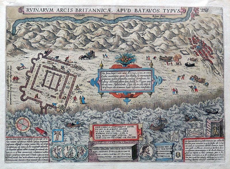 De Brittenburg getekend door Abraham Ortelius in 1581