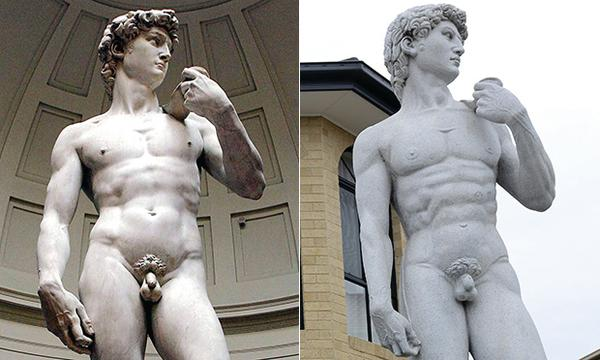 De David van Michelangelo en de replica in Melbourne