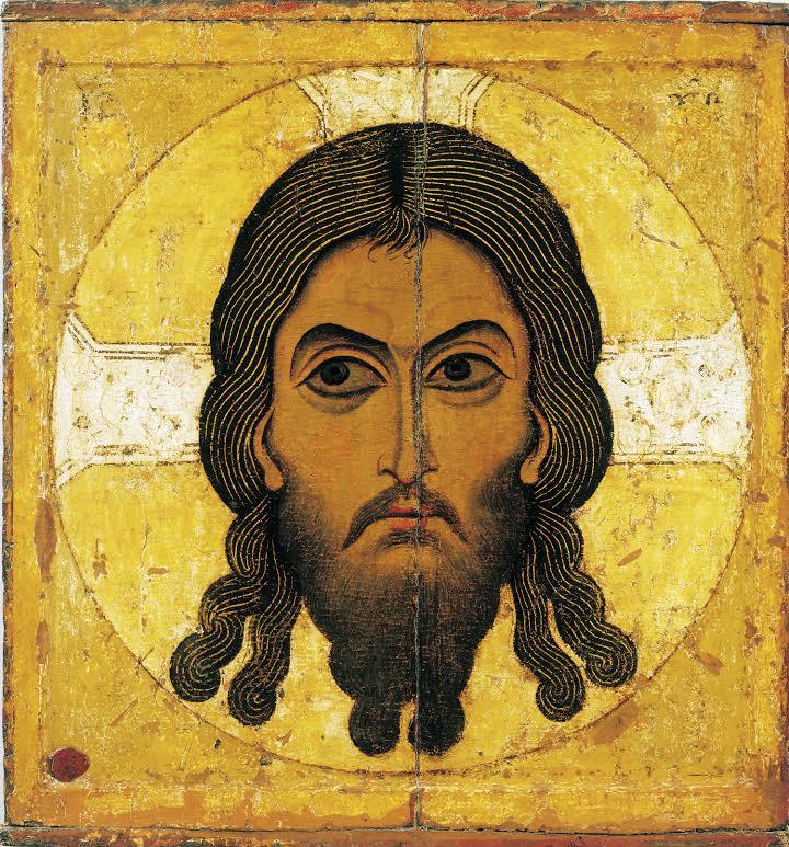 Icoon mandylion met het 'echte' gezicht van Jezus Christus. Bron: boek