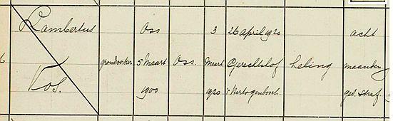 ...inschrijving van Lambertus Vos, gevangenisregister Den Bosch 1918-1923...