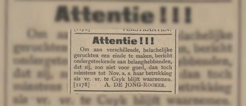 ...de opvallende advertentie...