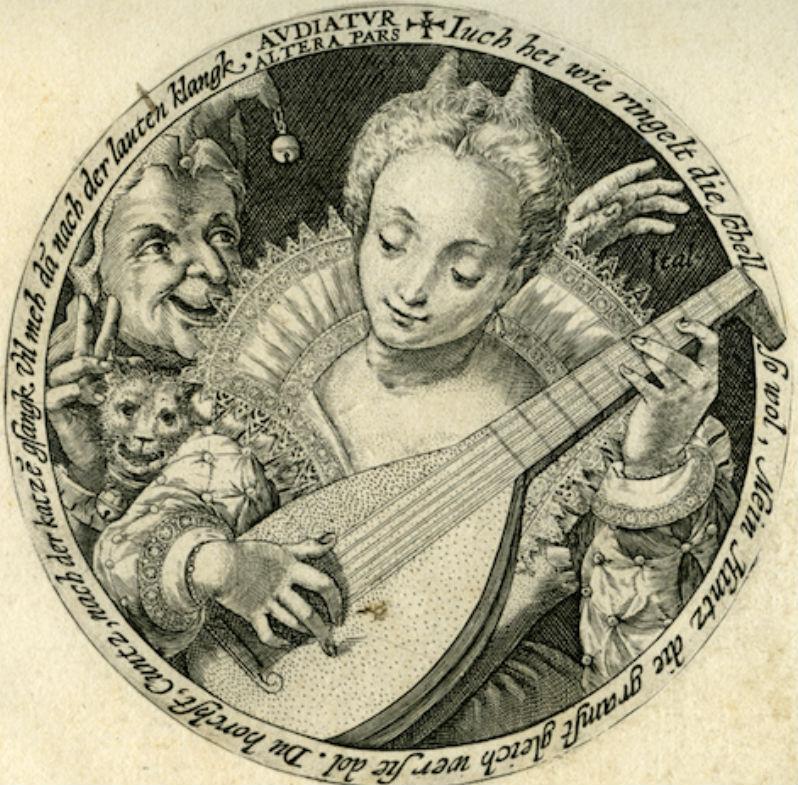 Crispijn van de Passe (Arnemuiden 1565-1637 Utrecht) Het gehoor, uit de serie: De vijf zintuigen, 1589-1611, gravure 9,8cm