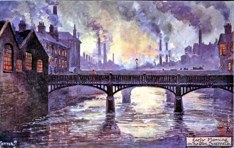 Schilderij (1a, Jotter, 'Early morning on the Don') of foto 1b (Zware industrie) Door de zware industrie stond Sheffield bekend als 'De lelijkste stad van de wereld'