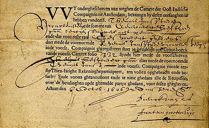 VOC-aandeel ontdekt bij Stadsarchief Amsterdam