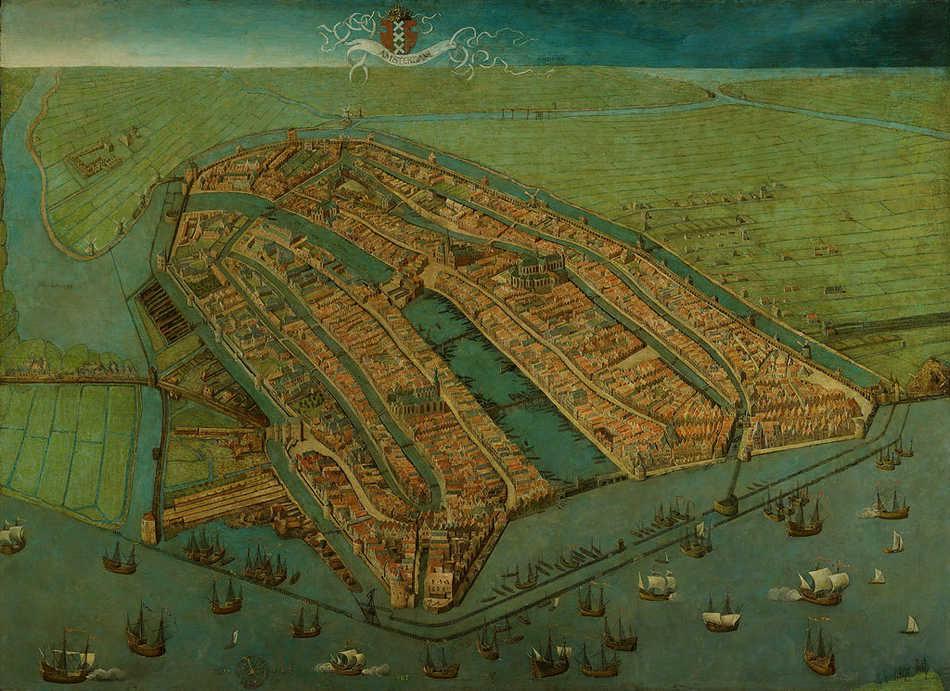 """""""Amsterdam in vogelvlucht"""" (1538). Schilderij van Cornelis Anthonisz van Oostsanen. Bron: Amsterdam Museum"""
