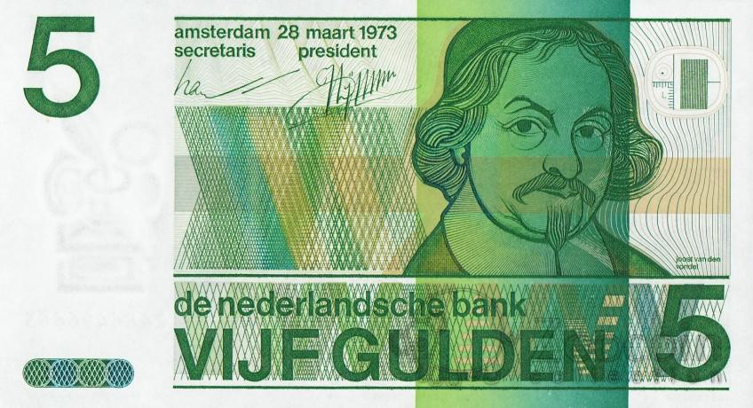 Bankbiljet van 5 gulden met Joost van den Vondel (Fok)