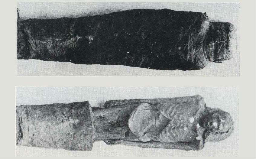 De mummie voor en na het onderzoek