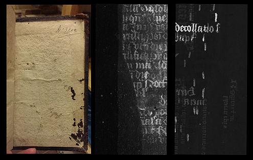 De MA-XRF-techniek onthult twee op elkaar geplakte middeleeuwse fragmenten onder de papieren bedekking van een 16de-eeuwse band
