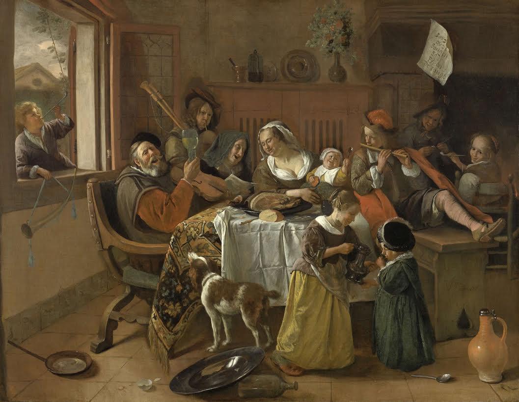 """Jan Steen, """"Het vrolijke huisgezin"""", 1668. Bron: Rijksmuseum"""