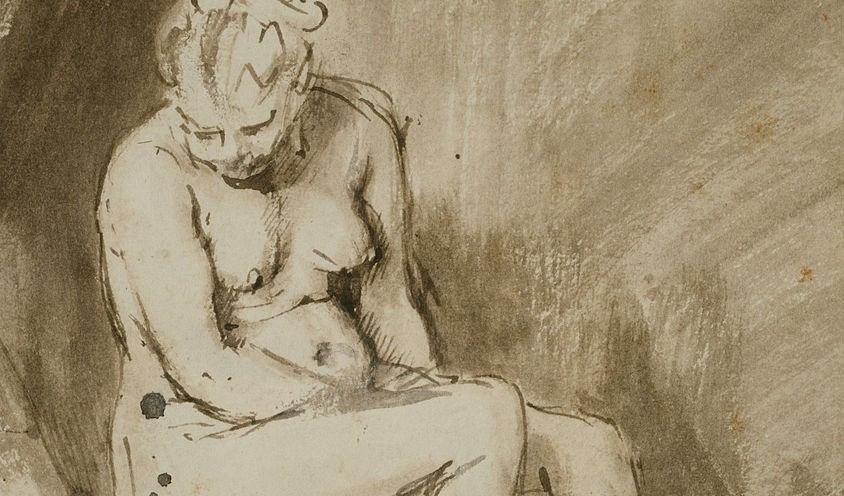 Zittend naakt van Rembrandt van Rijn, 1654/56