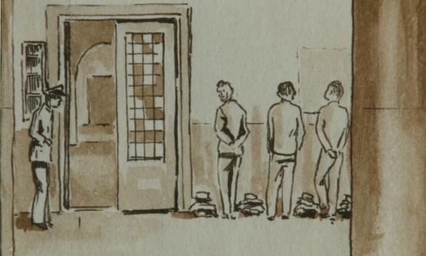 Gevangenis Wolvenplein, Utrecht. 19 November 1942. Tekening van Hans Vanderaa. Beeldbank WO2 - NIOD.