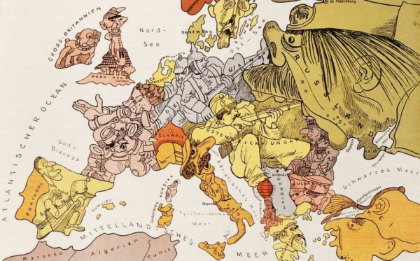 Europa in 1914 - Satirische kaart