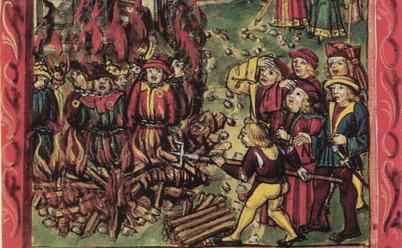 Joden op de brandstapel in Duitsland tijdens de Zwarte Dood in 1348