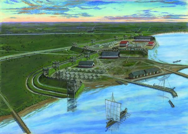 Het Romeinse castellum met haven te Velsen Illustratie: © Graham Sumner