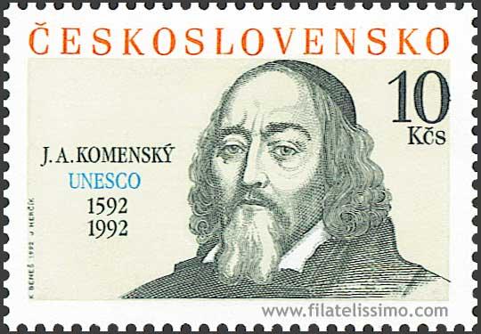 Tsjechoslowaakse postzegel met afbeelding Jan Comenius uit 1992.