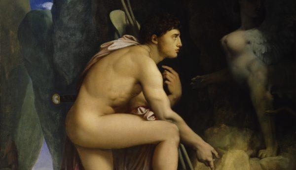 "Jean-Auguste Dominique Ingres, ""Oedipus en de Sphinx"" (1808). Bron: Wikimedia / The Walters Art Museum"