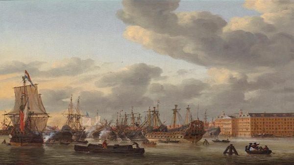 Gezicht op het IJ door Reinier Rooms, 1664 - Scheepvaartmuseum
