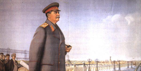 Stalin op een oude Sovjet-poster