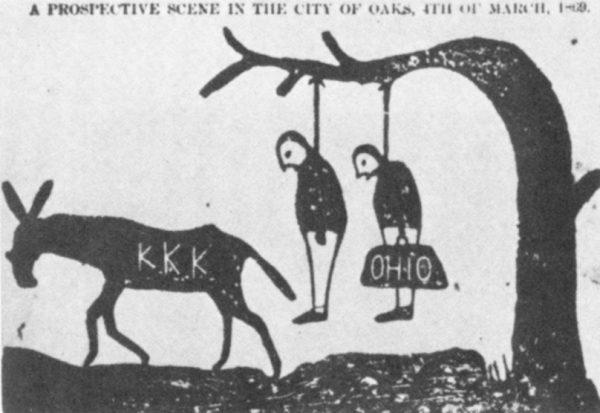 """Een stripje van de Ku Klux Klan; bedreiging met ophanging voor """"carpetbaggers"""" uit Ohio"""