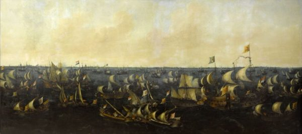 Schilderij van de slag op de Zuiderzee door Abraham de Verwer