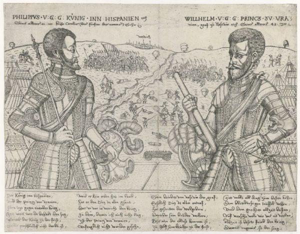 Filips II en Willem van Oranje tegenover elkaar opgesteld. Op de achtergrond steken Oranjes troepen de Maas over. Ets door Bathasar van Jenichen. Rijksmuseum.