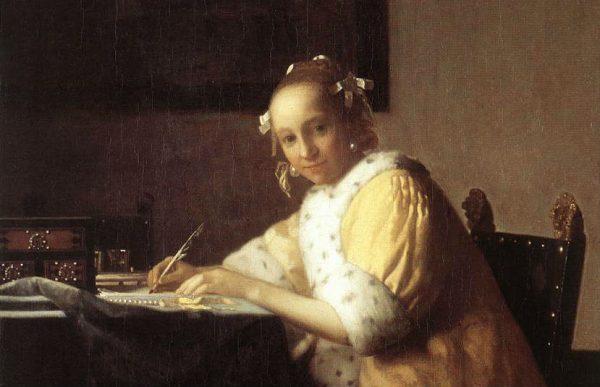 Een schrijvend meisje - Johannes Vermeer