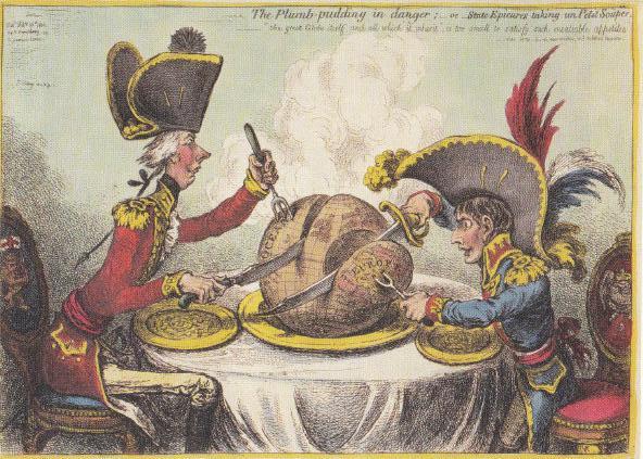 Napoleon en de Britse eerste minister Pitt verdelen de wereld, in de vorm van een plumpudding, onder elkaar in de Vrede van Amiëns (1802). (Prent James Gillray)