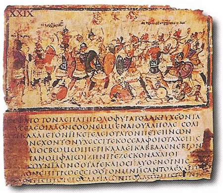 Bladzijde uit de Ilias, rond 500