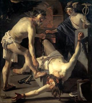 Prometheus wordt geketend door Vulcanus (Hephaistos) van Dirck van Baburen (1623)
