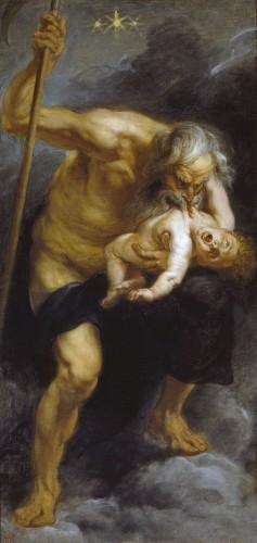 Saturnus (Cronus), de vader van Jupiter (Zeus), verslindt een van zijn kinderen - Peter Paul Rubens