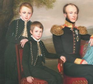 Willem III (l) met zijn broer Alexander en zijn vader